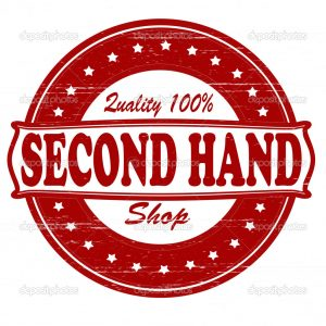 Stamp with text second hand shop inside, vector illustration